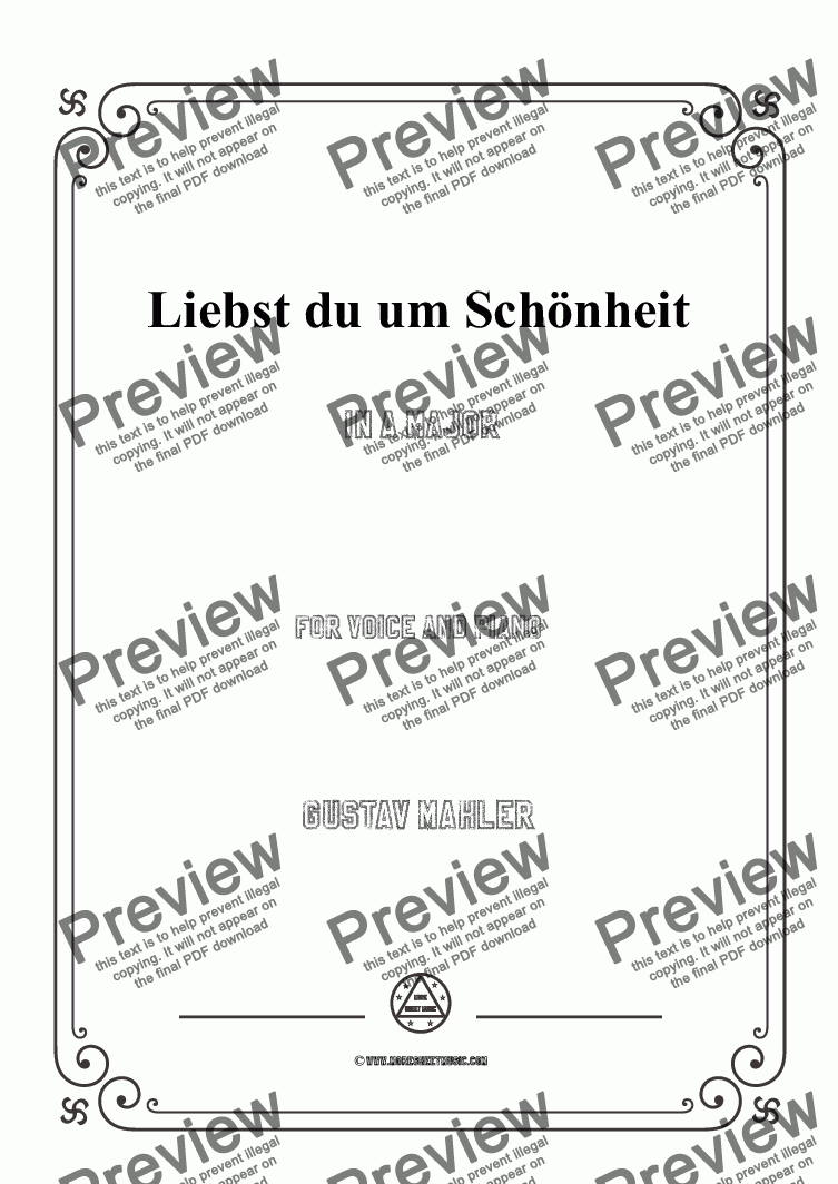 page one of the Mahler-Liebst du um Schönheit in A Major,for Voice&Pno part from Mahler-Liebst du um Schönheit in A Major,for Voice&Pno