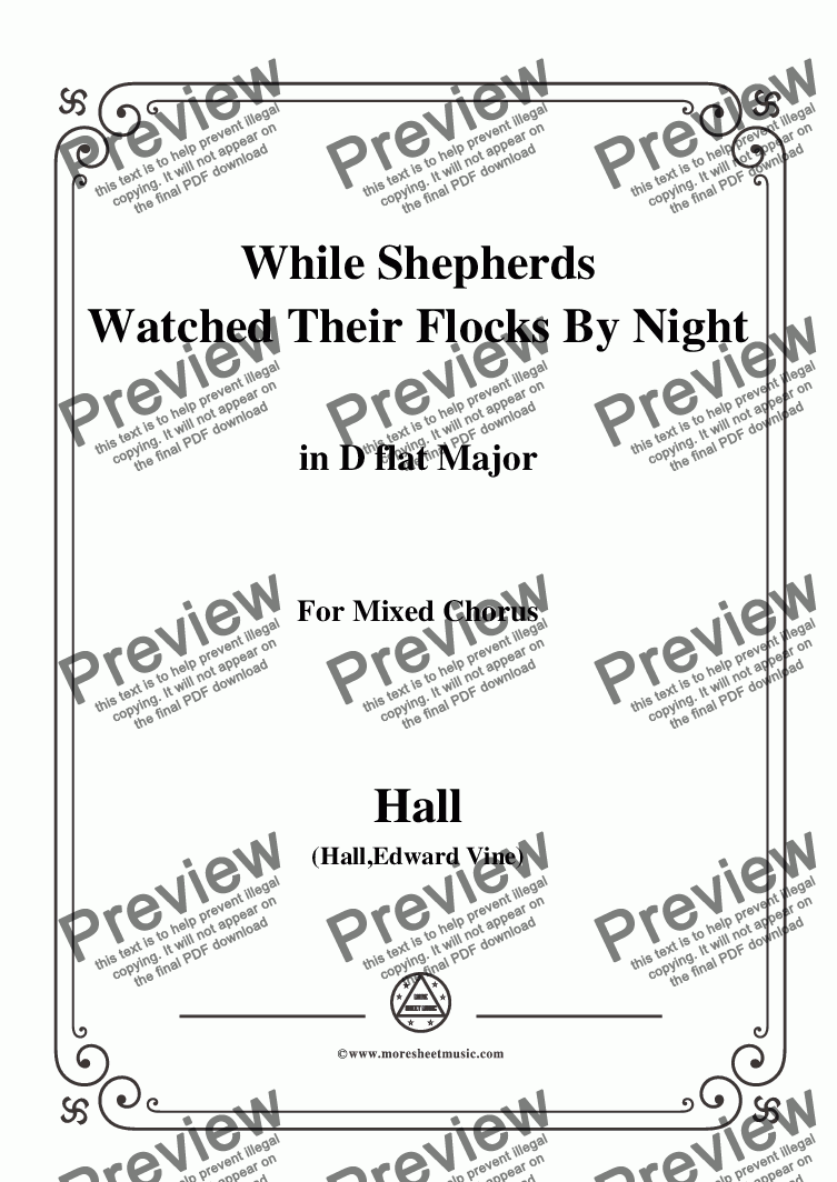 page one of the Hall-While Shepherds Watched Their Flocks by night,in D flat Major,For Quatre Chorales part from Hall-While Shepherds Watched Their Flocks by night,in D flat Major,For Quatre Chorales