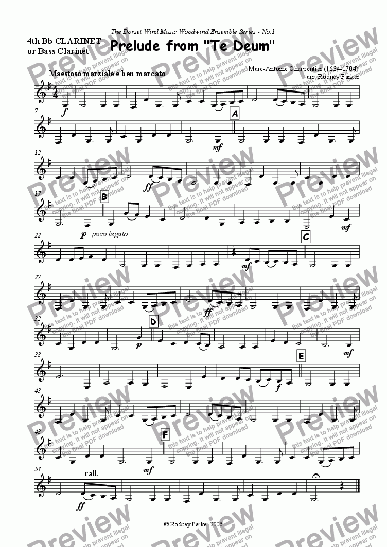 page one of the 4thClarinet or Bass Clarinet part from Prelude from 'Te Deum'