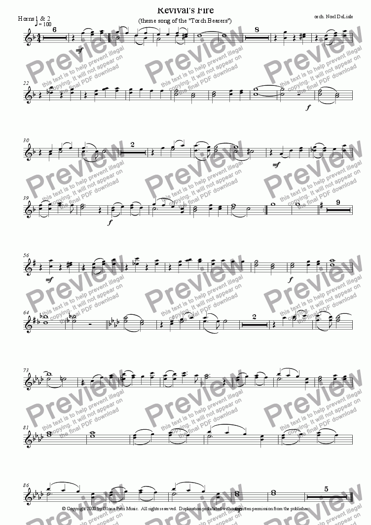page one of the Horns 1+2 part from Revival's Fire (orchestral score)