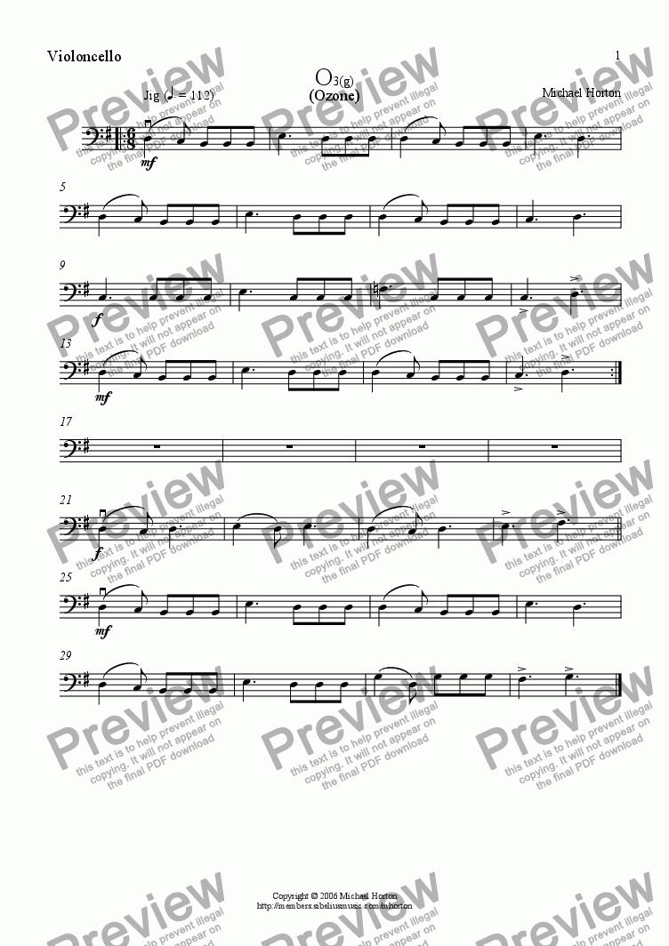 page one of the Violoncello part from Ozone (Jig)