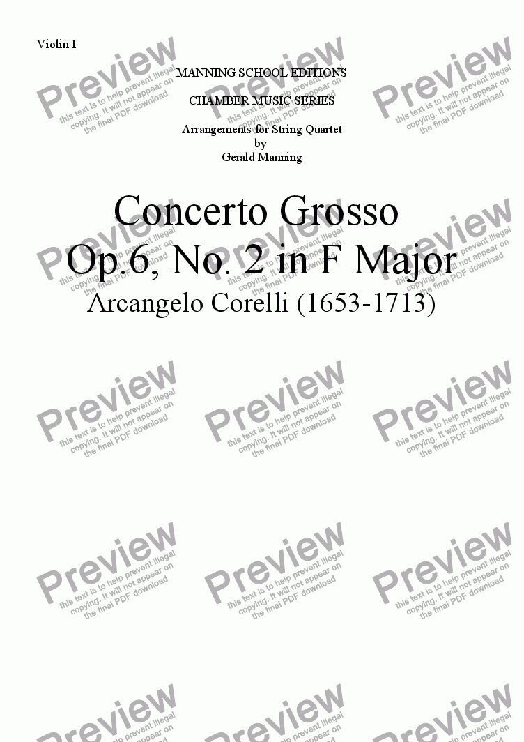 page one of the Violin I part from CORELLI, A. - Concerto Grosso No. 2 in F Major - arr. for String Quartet by Gerald Manning