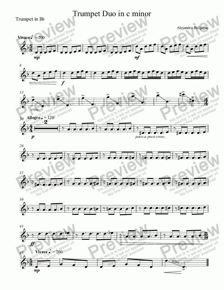 page one of the Trumpet in B^b part from Trumpet Duo in c minor