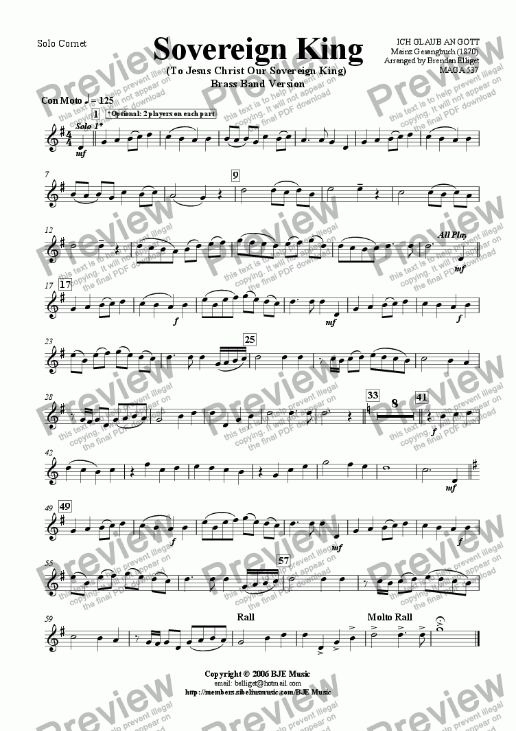 page one of the Solo Cornet part from Sovereign King (To Jesus Christ Our Sovereign King) - Brass Band