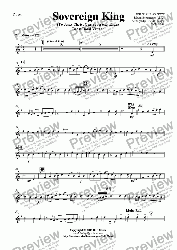 page one of the Flugel part from Sovereign King (To Jesus Christ Our Sovereign King) - Brass Band