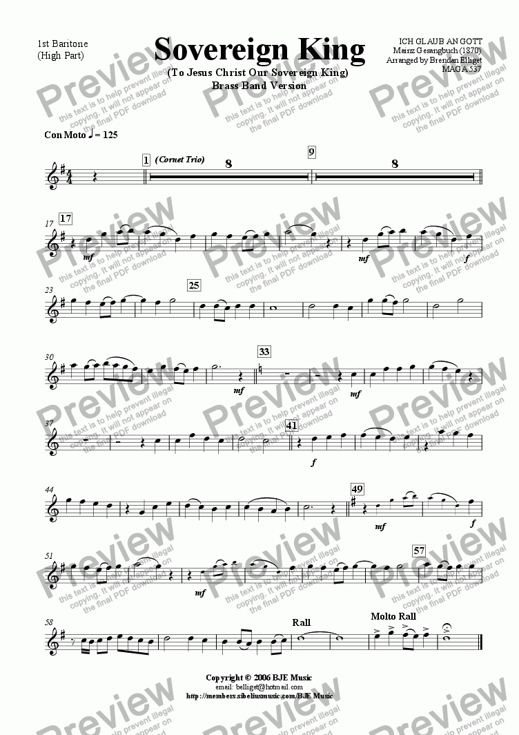 page one of the 1st Baritone (High) part from Sovereign King (To Jesus Christ Our Sovereign King) - Brass Band