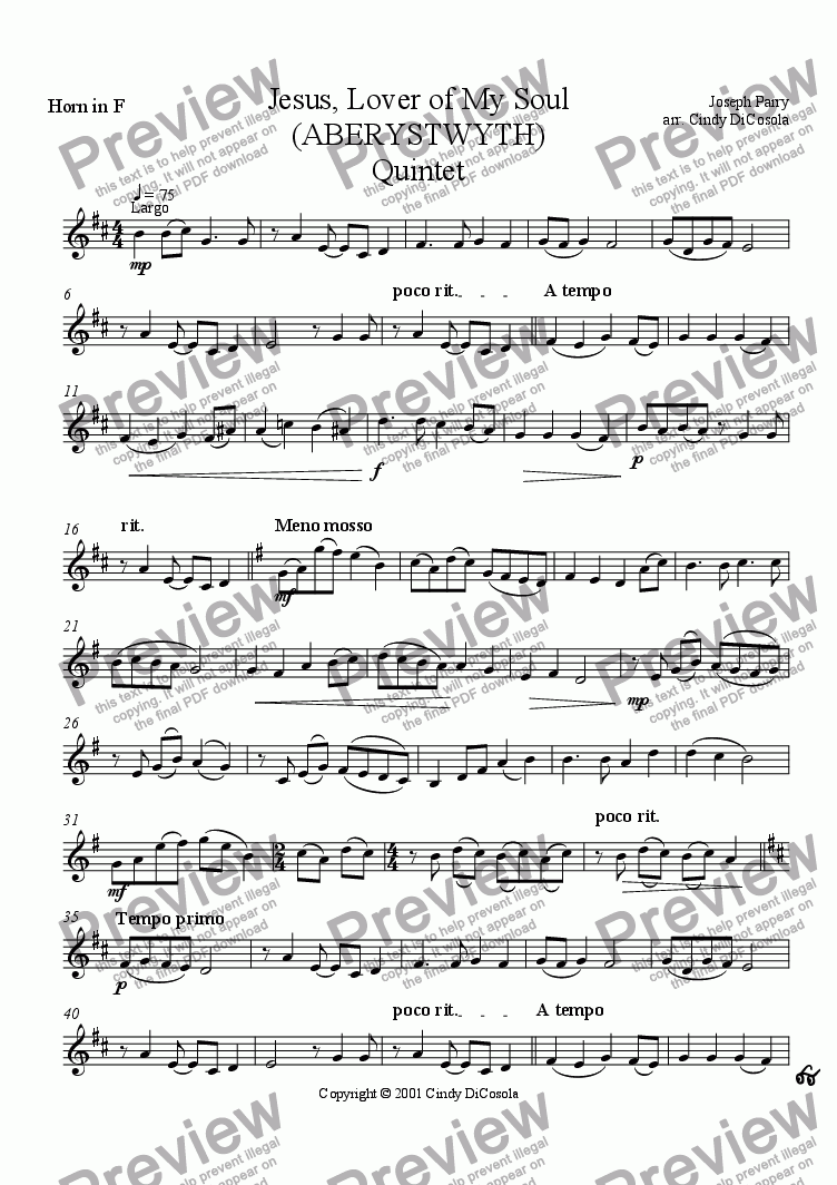 page one of the French Horn part from Jesus, Lover of My Soul - Brass Quintet
