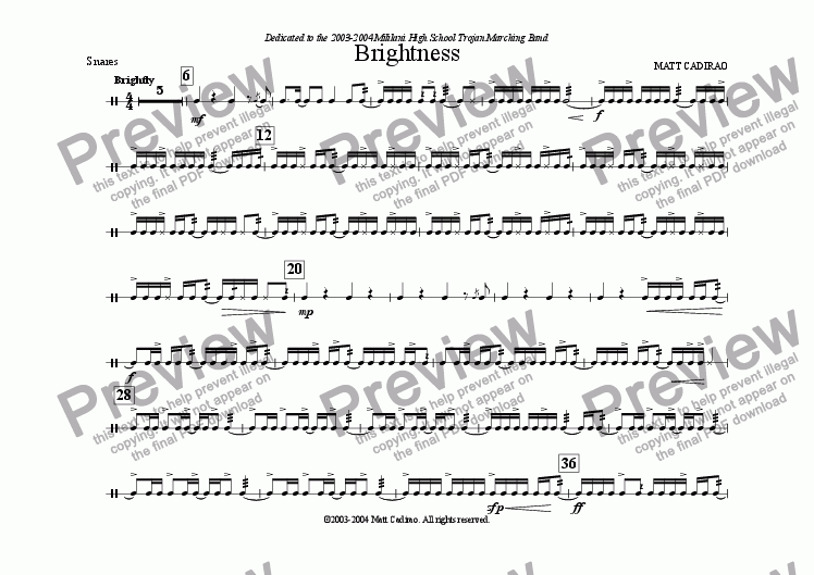 page one of the Snares part from Brightness