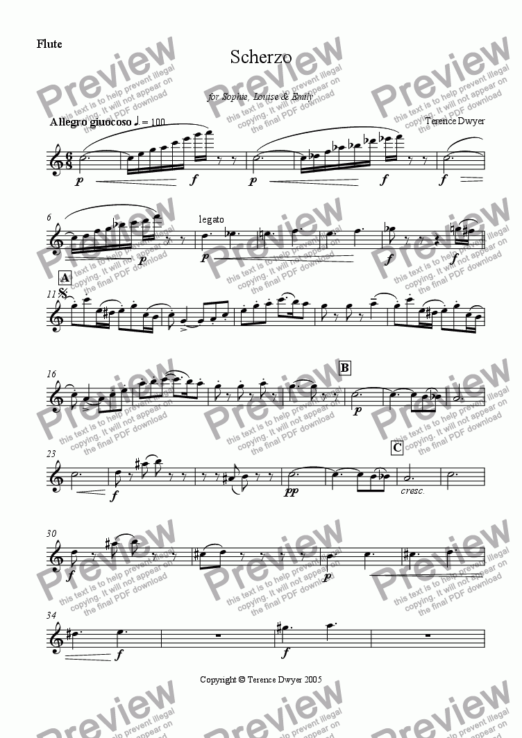 page one of the Flute part from Scherzo for Woodwind Trio