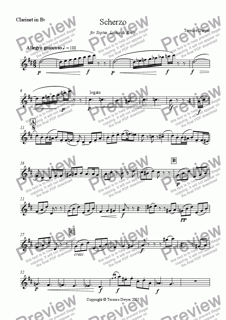 page one of the Clarinet in Bb part from Scherzo for Woodwind Trio