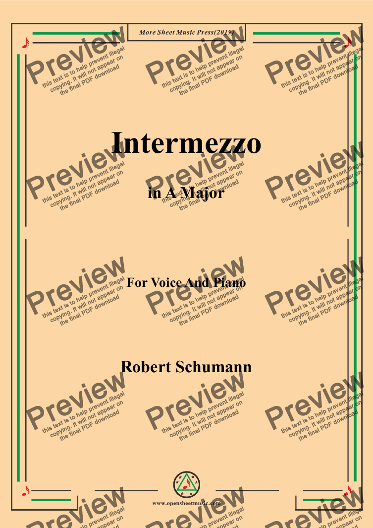 page one of the Schumann-Intermezzo in A Major,for Voice&Pno part from Schumann-Intermezzo in A Major,for Voice&Pno