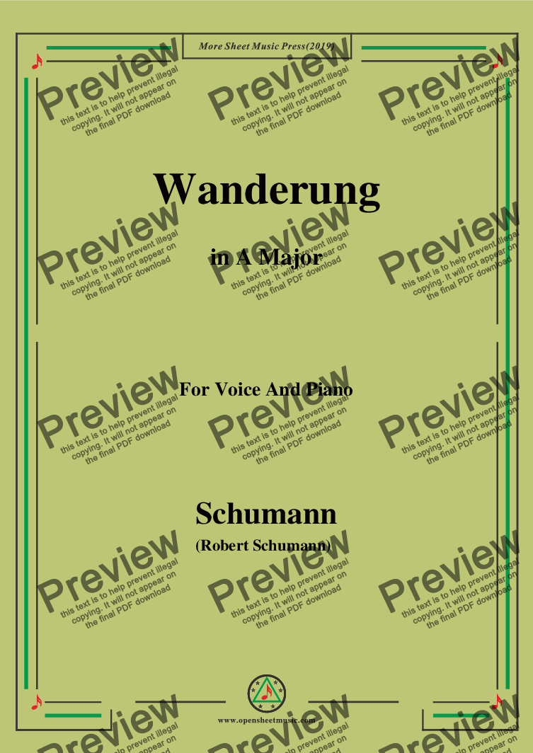 page one of the Schumann-Wanderung,in A Major,for Voice and Piano part from Schumann-Wanderung,in A Major,for Voice and Piano