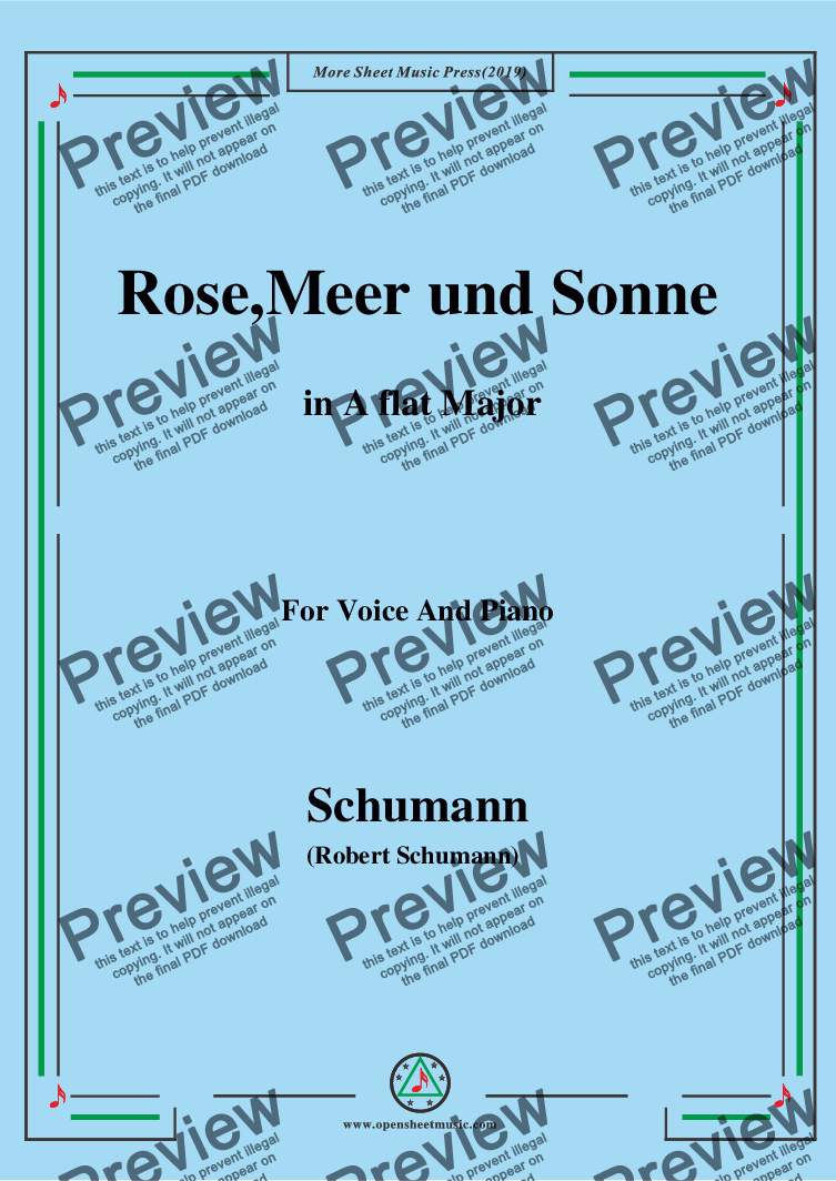 page one of the Schumann-Rose,Meer und Sonne,in A flat Major,for Voice and Piano part from Schumann-Rose,Meer und Sonne,in A flat Major,for Voice and Piano