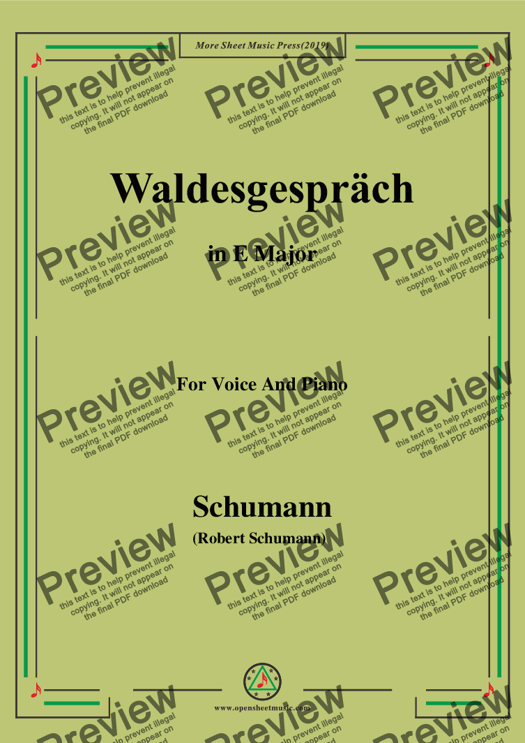 page one of the Schumann-Waldcsgespräch,in E Major,for Voice and Piano part from Schumann-Waldcsgespräch,in E Major,for Voice and Piano