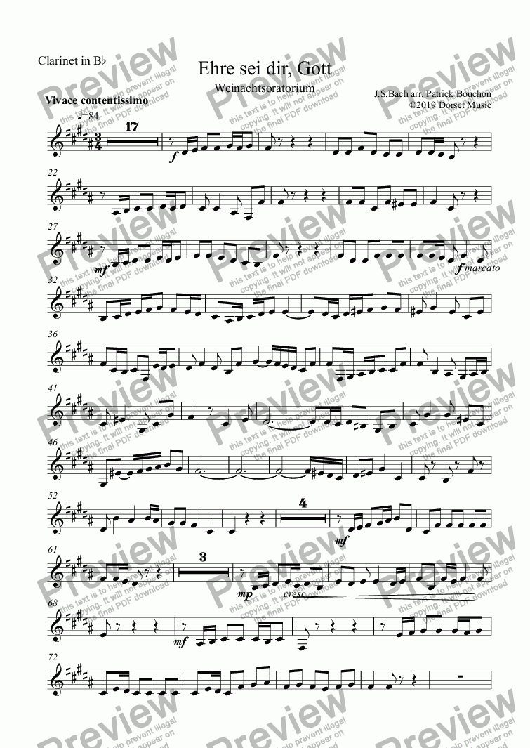 page one of the Clarinet in Bb part from Bach - Ehre sei dir, Gott for Woodwind Quartet and Piano