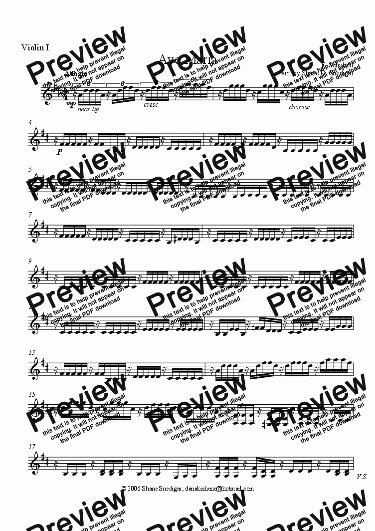 page one of the Violin I part from Wedding Music: Ave Maria (Schubert) for String Quartet