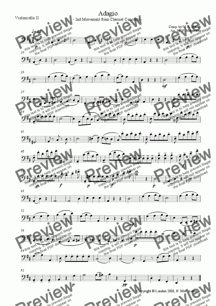 page one of the Violoncello II part from Adagio from Mozart Clarinet Concerto (for 1 VIolin & 2 Violoncellos)