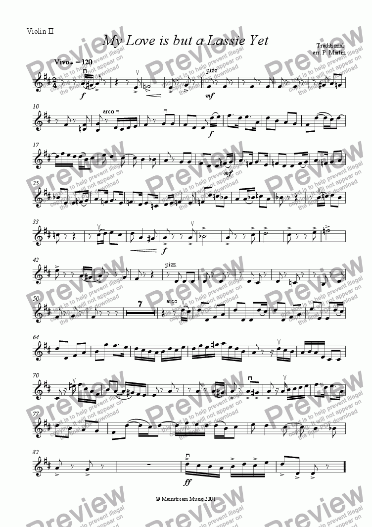 page one of the Violin 2 part from My Love is but a Lassie Yet
