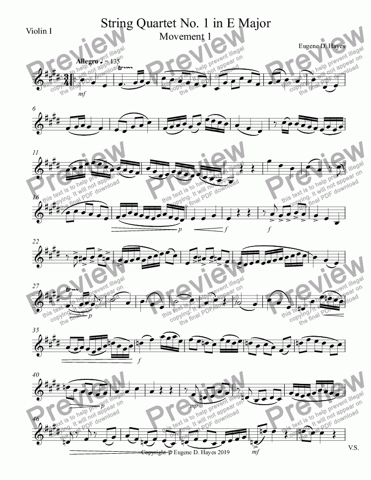page one of the String Quartet No 1 in E Major - Parts Final Consolidated part from String Quartet No 1 in E Major - Full Score Final