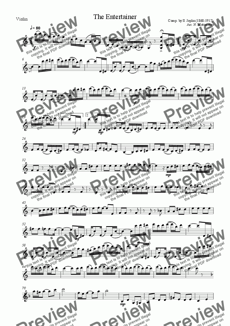 page one of the Violin part from The Entertainer (for 1 VIolin & 2 Violoncellos)