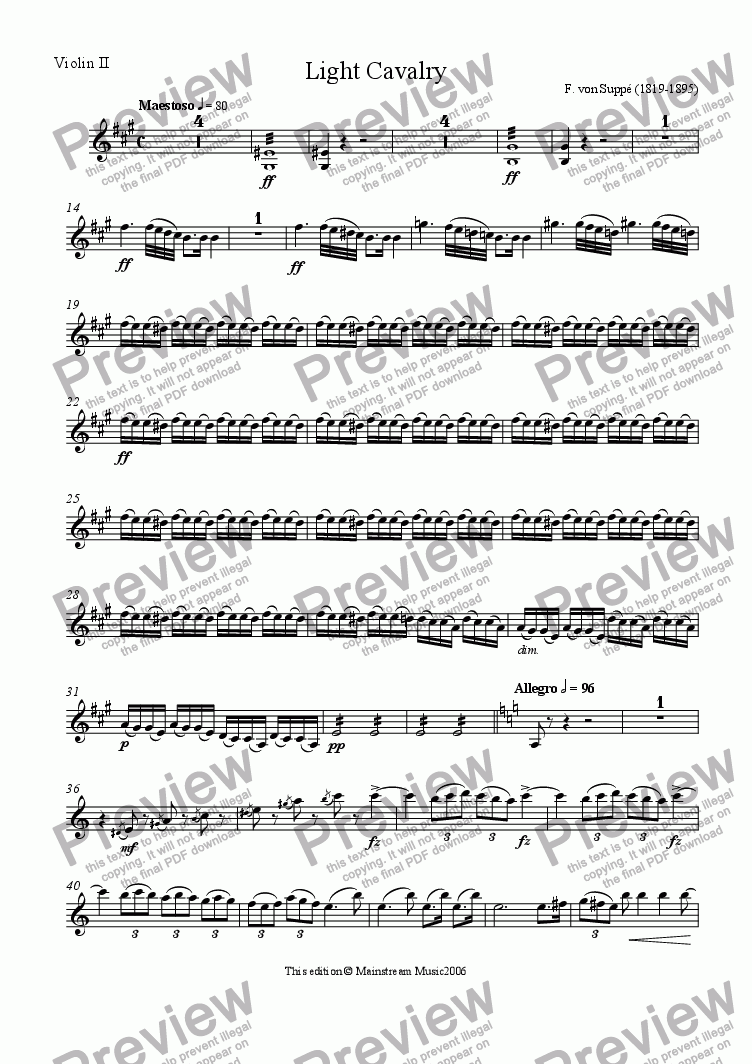 page one of the Violin 2 part from Light Cavalry