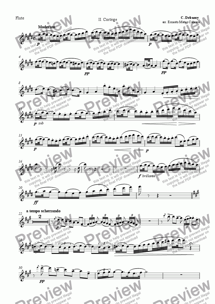 page one of the flute part from Petite suite - Cortège