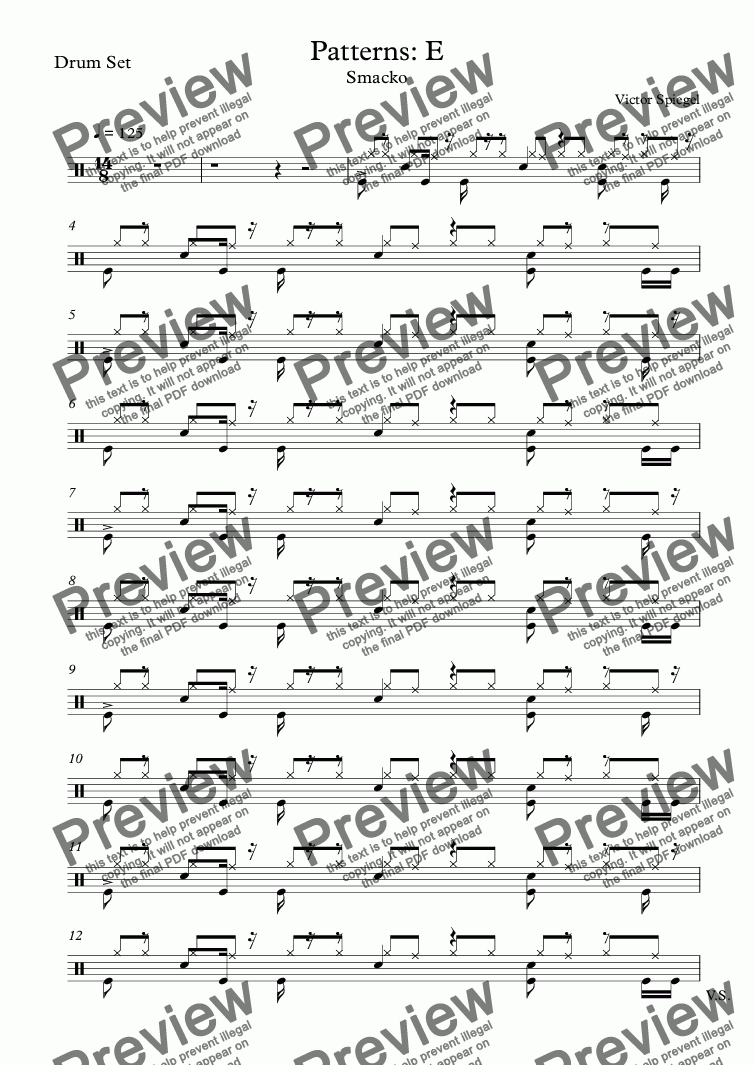 page one of the Drum Set part from Patterns: E