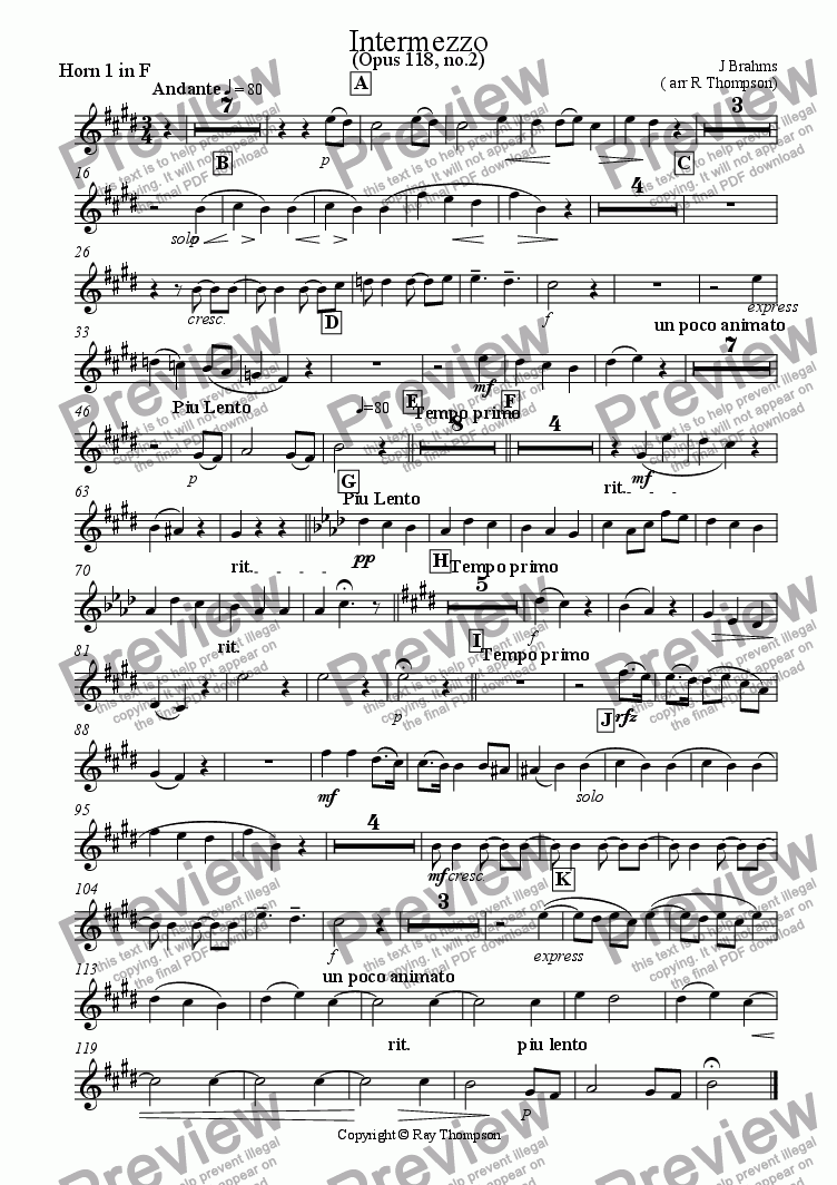 page one of the Horn 1 part from Intermezzo from Six Piano Pieces Opus 118 No 2