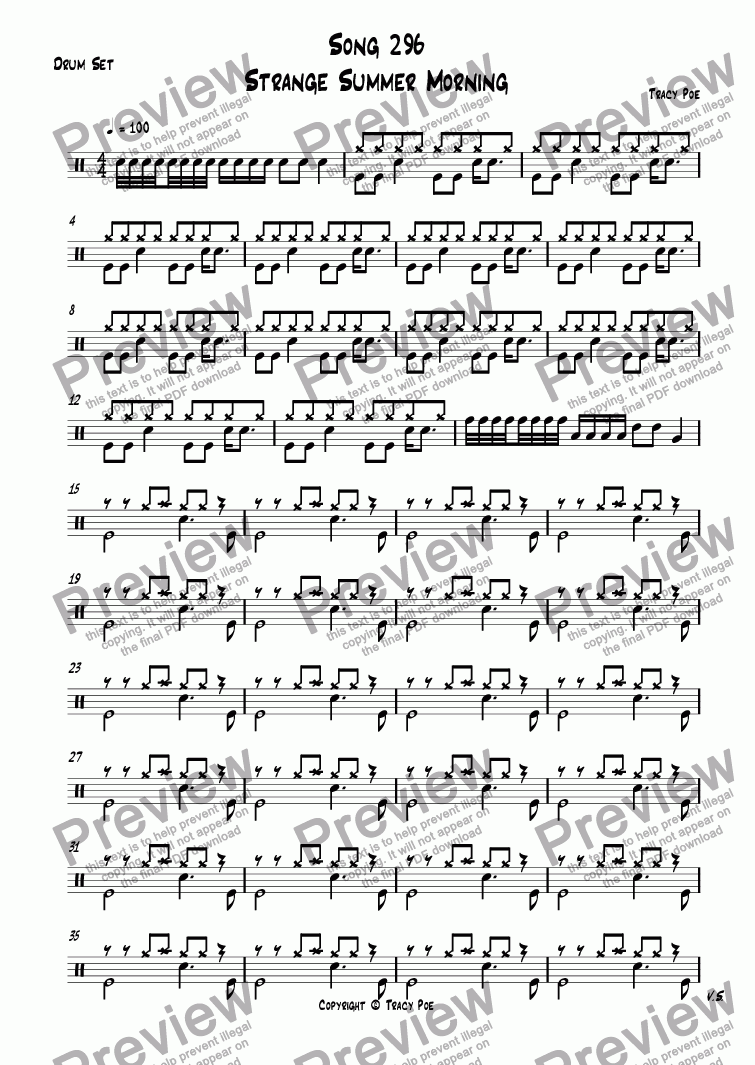 page one of the Drum Set part from Song 296 Strange Summer Morning