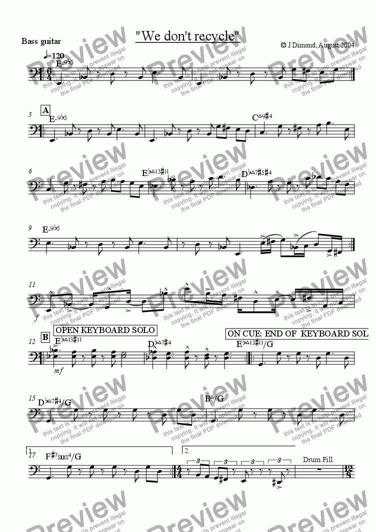 page one of the Bass part from We Don't Recycle