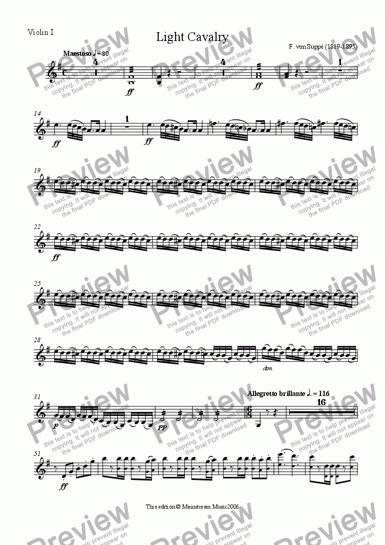 page one of the Violin 1 part from Light Cavalry - abridged & simplified