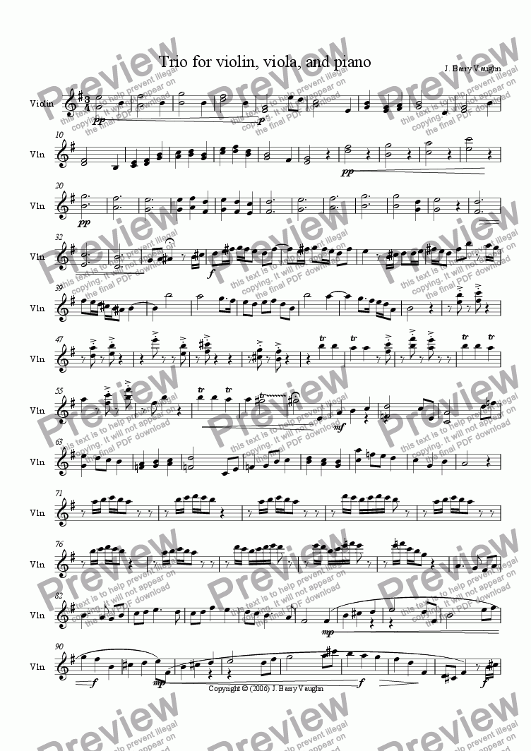 page one of the violin part from Trio for Violin, Viola, and Piano