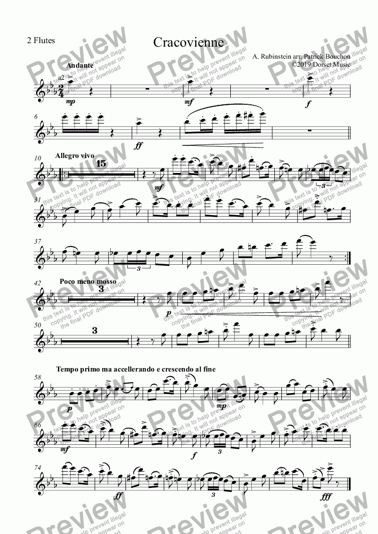 page one of the 2 Flutes part from Rubenstein - Cracovienne for Small Orchestra