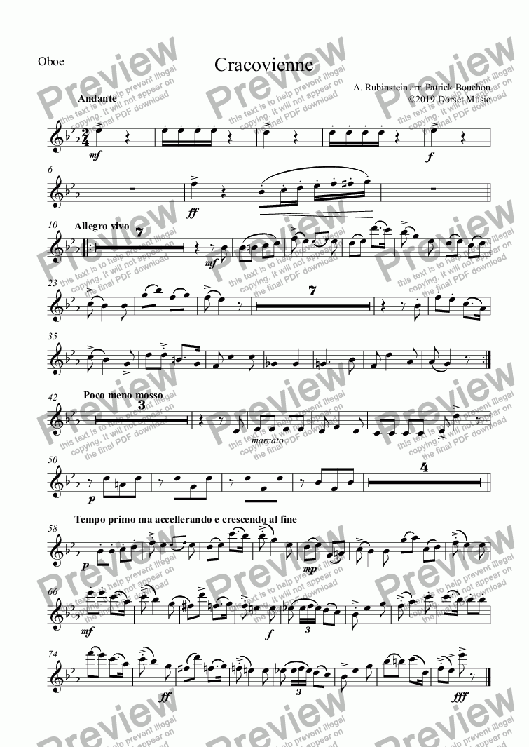 page one of the Oboe part from Rubenstein - Cracovienne for Small Orchestra
