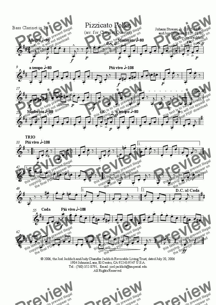 page one of the Bass Clarinet in B-flat part from Pizzicato Polka (arr. for Clarinet Quartet)