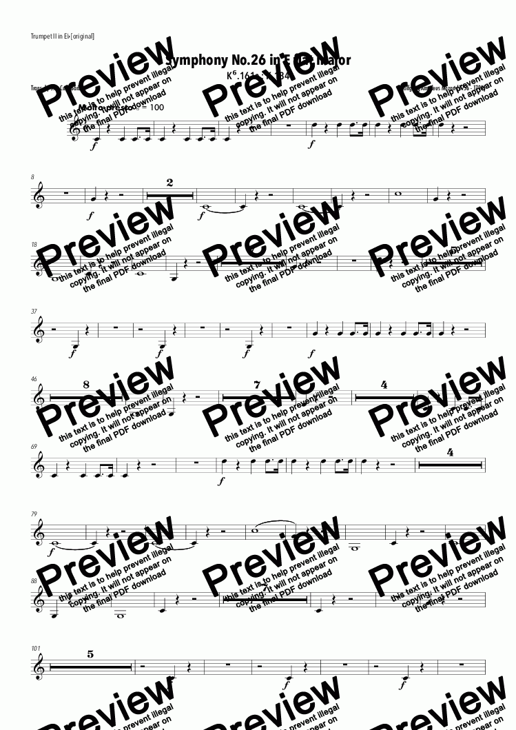 page one of the Trumpet II in Eb [original] part from Mozart - Symphony No.26 in E flat major
