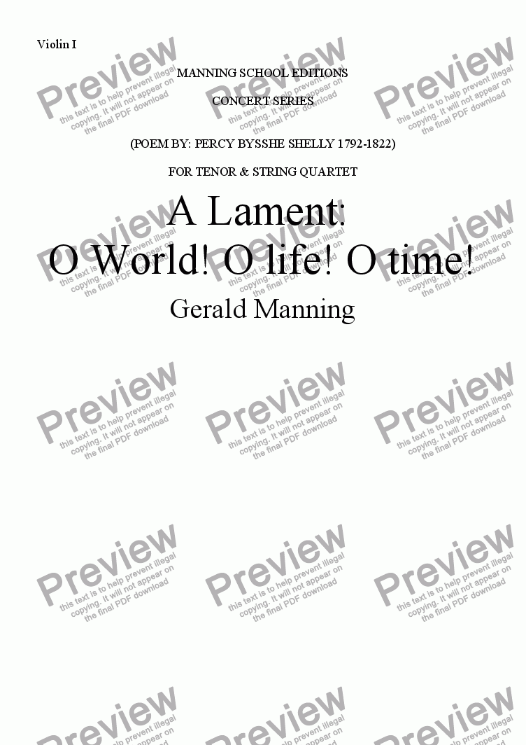 page one of the Violin I part from MANNING, G. - A Lament: O World! O life! O time! Op.11 - for Tenor & String Quartet