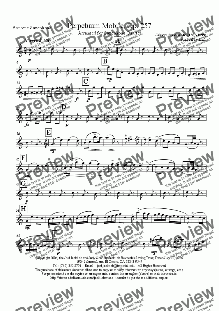 page one of the Baritone Saxophone part from Perpetuum Mobile, Op. 257 (Sax Quartet)