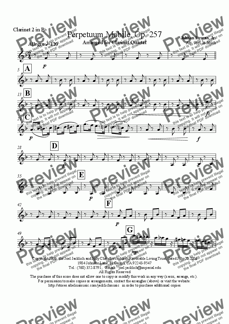 page one of the Clarinet 2 in Bb part from Perpetuum Mobile, Op. 257 (Clarinet Quartet)