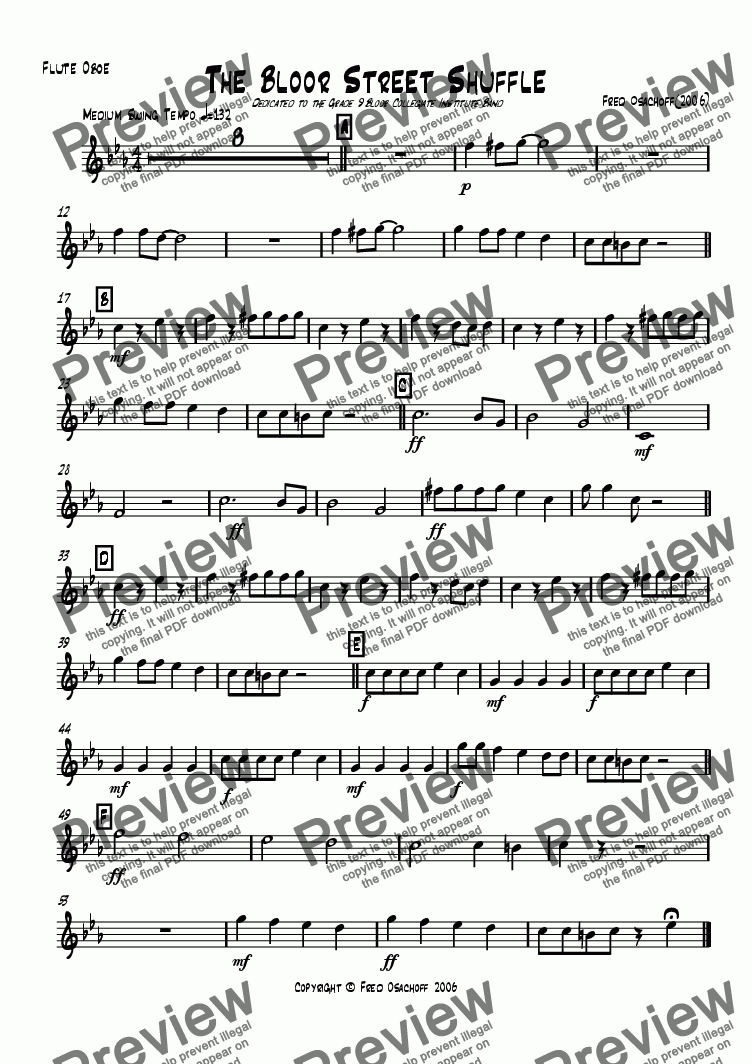 page one of the flute/oboe part from The Bloor Street Shuffle