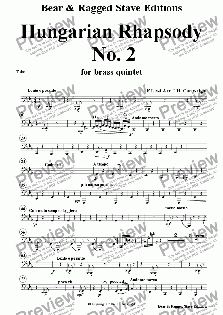 page one of the Tuba part from Hungarian Rhapsody No. 2 for brass quintet