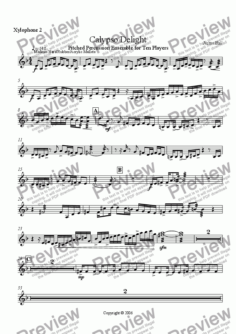 page one of the Xylophone 2 part from Calypso Delight