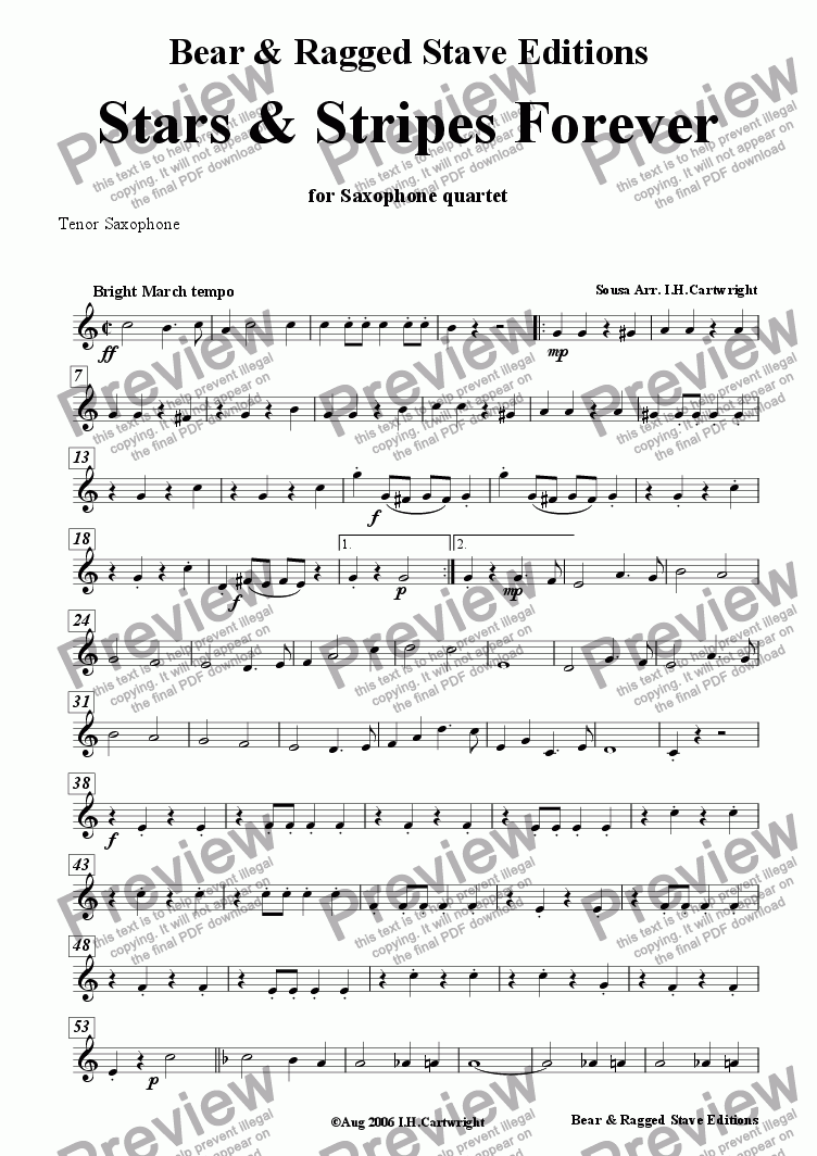 page one of the Tenor Sax part from Stars & Stripes Forever for Saxophone Quartet
