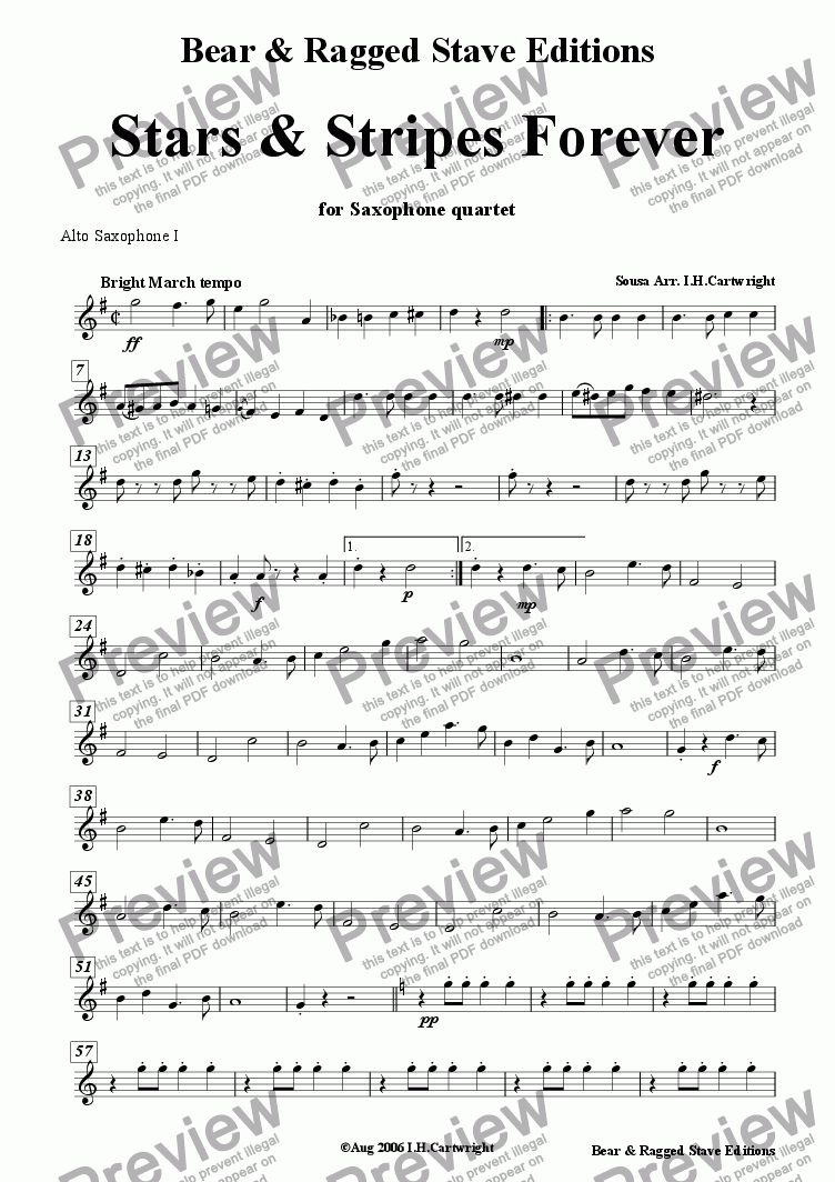 page one of the Alto Sax  I part from Stars & Stripes Forever for Saxophone Quartet