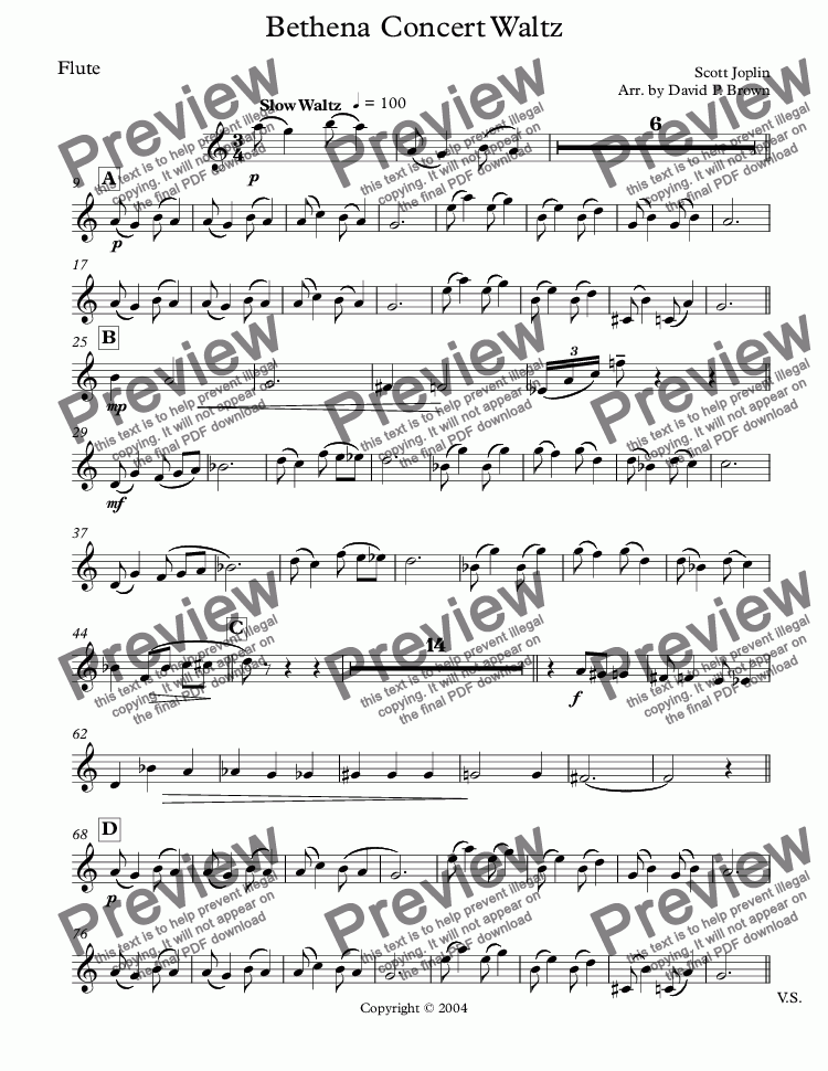page one of the Flute part from Bethena Concert Waltz for Flute and Piano