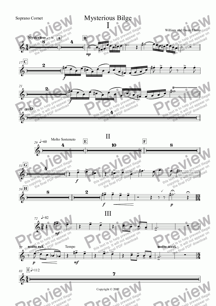 page one of the Soprano Cornet part from (Brass Band) Mysterious Bilge