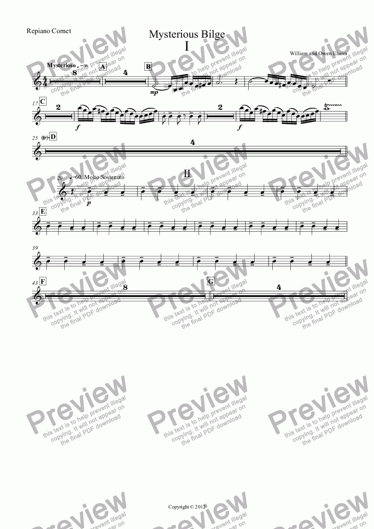 page one of the Repiano Cornet part from (Brass Band) Mysterious Bilge