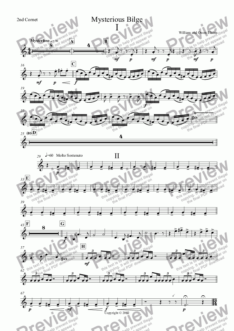 page one of the 2nd Cornet part from (Brass Band) Mysterious Bilge