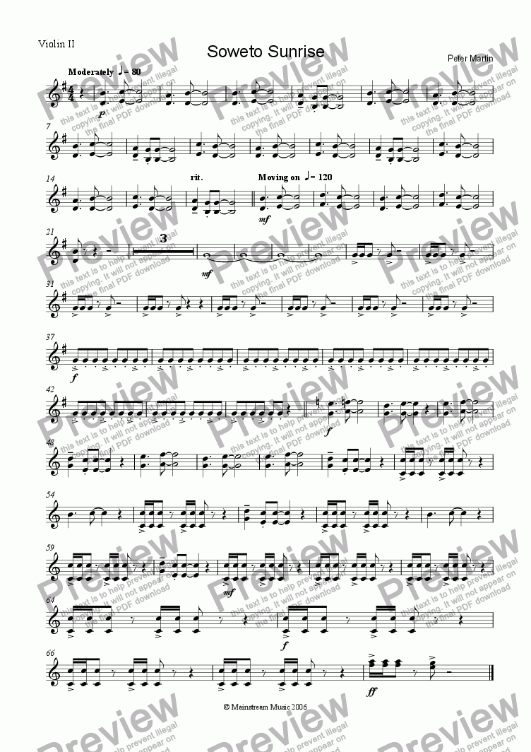 page one of the Violin 2 part from Soweto Sunrise