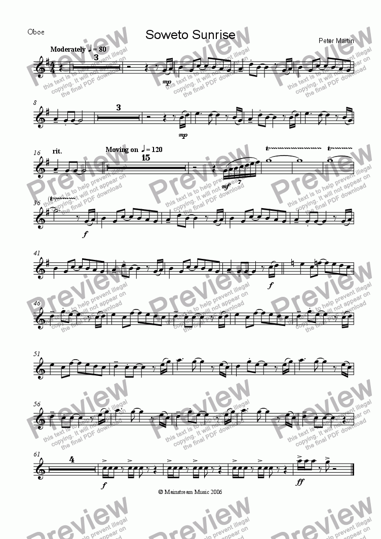 page one of the Oboe part from Soweto Sunrise
